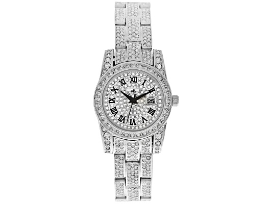 Adee Kaye Ladies Crystal Rhodium Plated Stainless Steel Quartz Watch