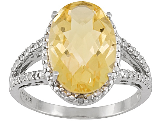 Brazilian Citrine 4.50ct Oval Checkerboard Cut With Diamond Accent Round Sterling Silver Ring