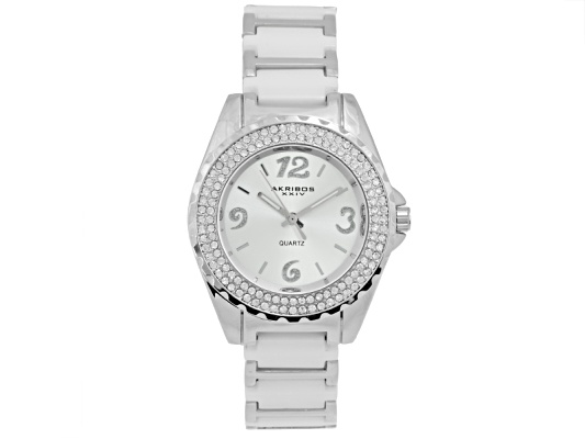 Akribos Ladies Crystal Snow White Ceramic Silver Tone Quartz Watch Msrp $345.00