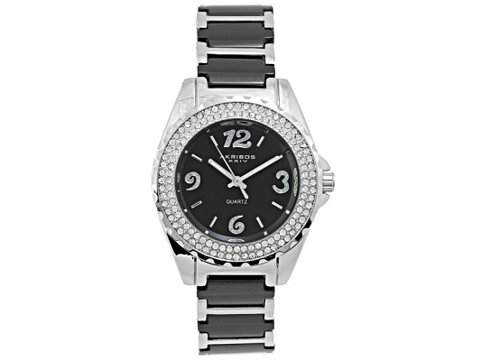 Akribos Ladies Crystal Midnight Black Ceramic Silver Tone Quartz Watch Msrp $345.00