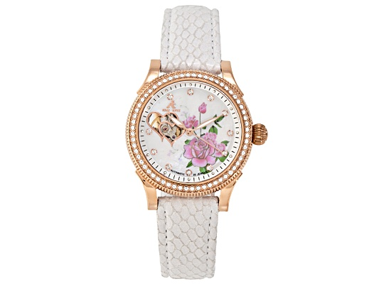 Adee Kaye Ladies Ip Rose Gold Plated Stainless Steel Heartbeat Automatic Watch