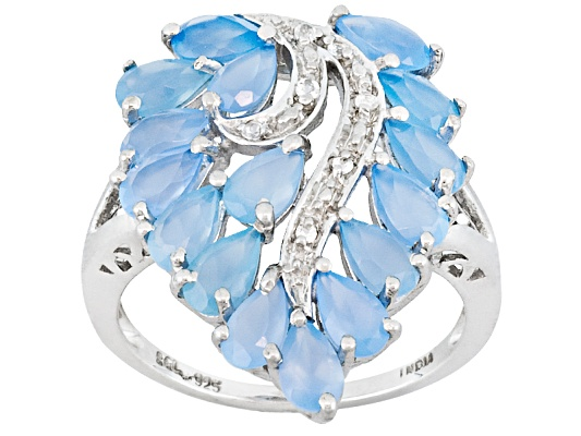 3.05ctw Pear Shape Blue Onyx With Round White Topaz Accent Sterling Silver Ring Erv $102.00 ...