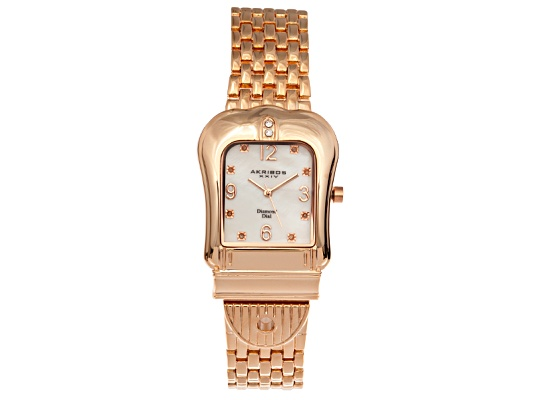 Akribos Diamond Ladies Rose Tone Quartz Buckle Watch Msrp $495.00