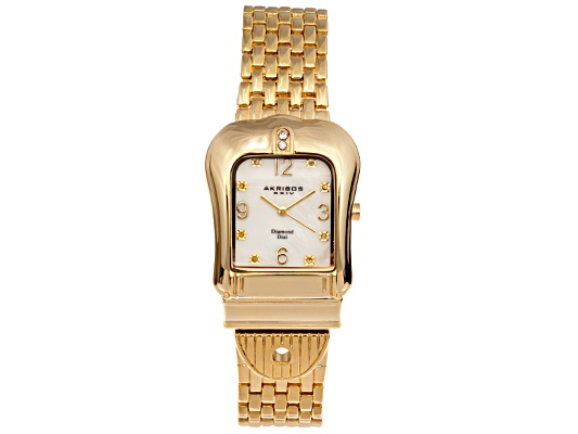 Akribos Diamond Ladies Gold Tone Quartz Buckle Watch Msrp $495.00