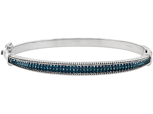 Blue Velvet Diamond(Tm) .50ctw Round Rhodium Over Sterling Silver Bangle Bracelet Eav $350.00