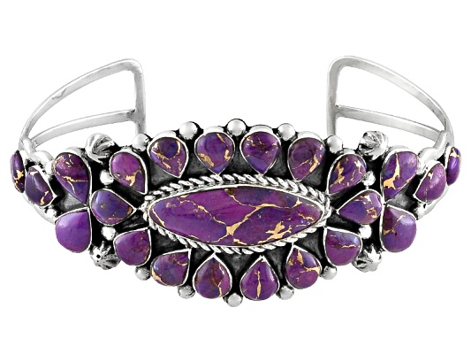 Southwest Style By Jtv, Oval And Pear Shape Kingman Purple Turquoise S/S Cuff Bracelet Erv ...