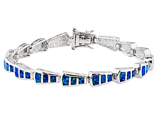 Southwest Style By Jtv, Fancy Cut Inlay Lab Created Blue Opal Sterling Silver Bracelet Erv ...