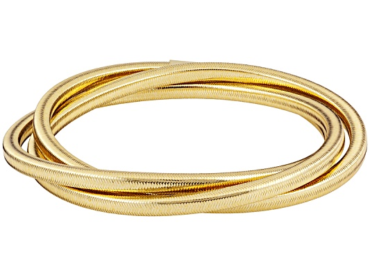 Splendido Oro(Tm) Sillace(Tm) Preziosa Yellow 7 1/2 Inch Bangle Made In Italy Eav $100.00