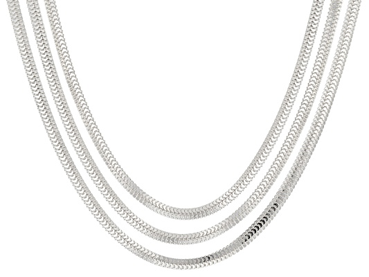 Argentovoge(Tm) Foxtail Link Sterling Chain Set Of 3 18, 20 And 24 Inch Made In ...