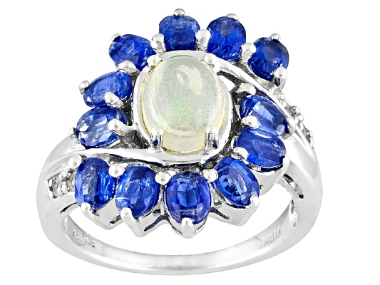 3.71ctw Ethiopian Opal Oval , Nepalese Kyanite Oval And White Topaz Round Sterling Silver Ring ...
