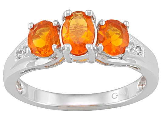Mexican Fire Opal Oval And White Topaz Accent Round .66ctw Sterling Silver 3-stone Ring