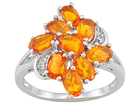 Mexican Fire Opal Oval And White Topaz Accent Round 1.40ctw Sterling Silver Ring