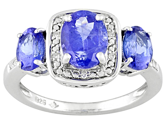 Kutamani Tanzanite Oval And Diamond Accent Round 2.18ctw Sterling Silver Ring