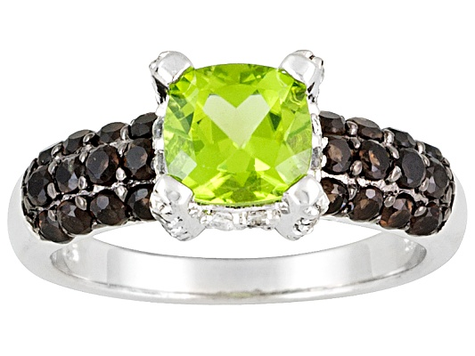 Manchurian Peridot Cushion, Smoky Quartz And White Topaz 2.24ctw Sterling Silver Ring