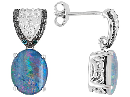 Oval Opal Triplet Wth .70ctw White Topaz And Blue Diamond Accent Sterling Silver Earrings