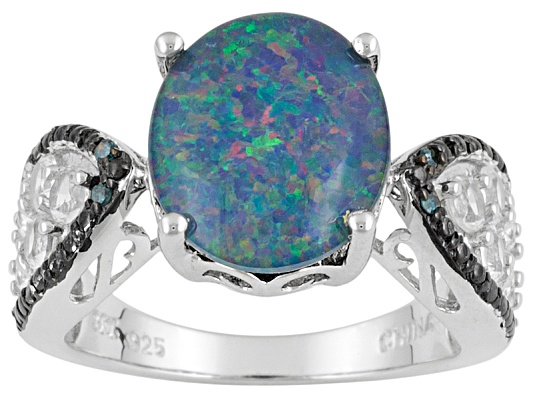 Oval Opal Triplet W/ .95ctw Round White Topaz & Blue Diamond Accent Sterling Silver Ring ...