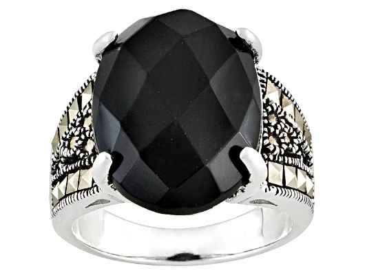 Tillya Treasures(Tm) 10.00ct Oval Onyx With Round & Square Marcasite Sterling Silver Ring Erv ...