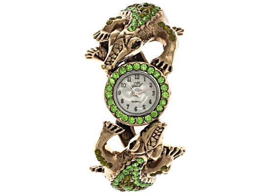 Off Park Collection, Gold Tone Multi Color Crystal Alligator Quartz Watch