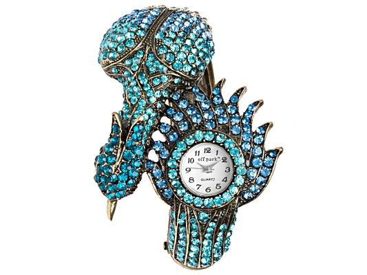 Off Park Collection, Gold Tone Multi Color Crystal Peacock Quartz Watch