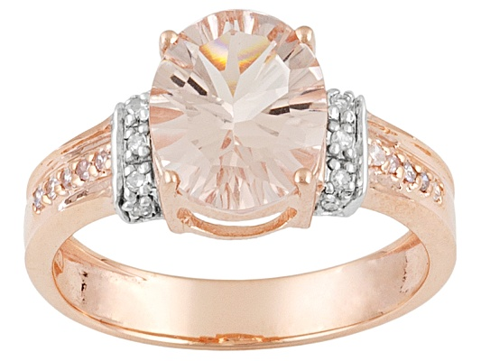Cor-de-rosa Morganite 2.30ct Quantum Cut(R) W/ .11ctw Posh & White Diamond 10k Rg Ring Erv ...