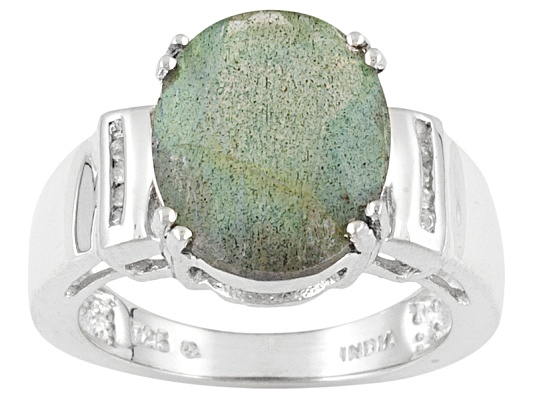 3.71ct Oval Labradorite And Round White Topaz Accent Stering Silver Ring