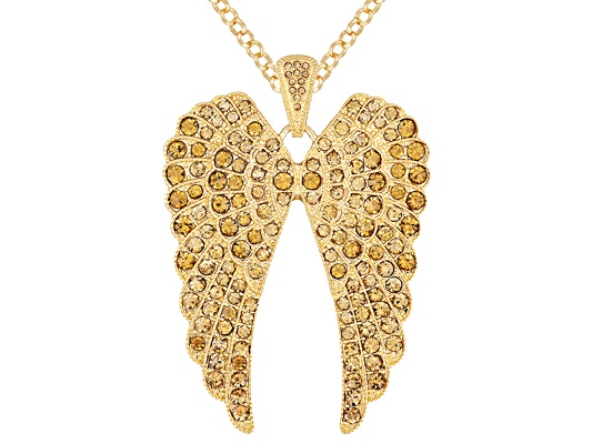 Off Park Collection Gold Tone Golden Crystal Angel Wing Pendant With Chain