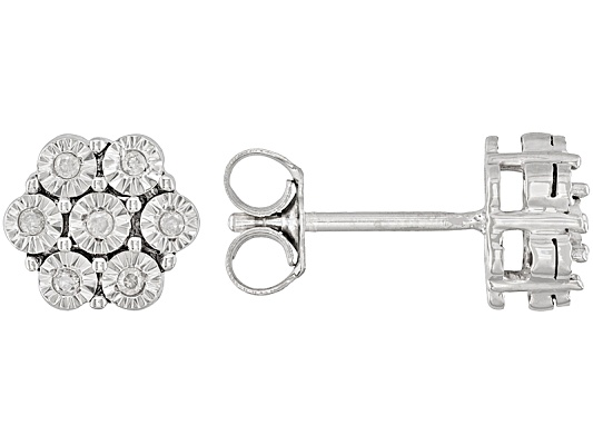 Monture Diamond Collection(Tm) Accent Rhodium Round Over Sterling Silver Earrings Eav $65.00