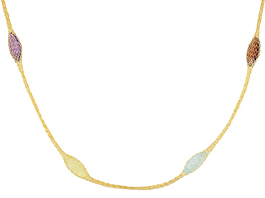 Splendido Oro(Tm) Crochet D' Tuscano(Tm) 14k Yellow Gold Multi-gem Crochet 24 Inch Necklace