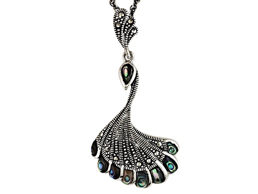 Tillya Treasures(Tm) Abalone And Marcasite Sterling Silver Pendant With Chain