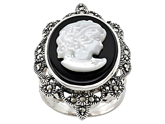 Tillya Treasures(Tm) Mother Of Pearl Cameo,Black Onyx And Marcasite Sterling Silver Ring Erv $99.00
