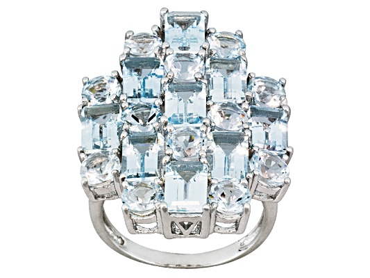 Altai Aquamarine 7.25ctw Emerald Cut And Round Sterling Silver Ring Eav $250.00