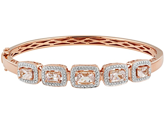 Stratify(Tm) 2.90ctw Morganite 18k Rg Over S/S W/Stainless Steel Clasp Bangle Bracelet Eav $350.00