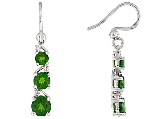 3.83ctw Round Russian Chrome Diopside With Round White Topaz Accent S/S Earrings Erv $174.00