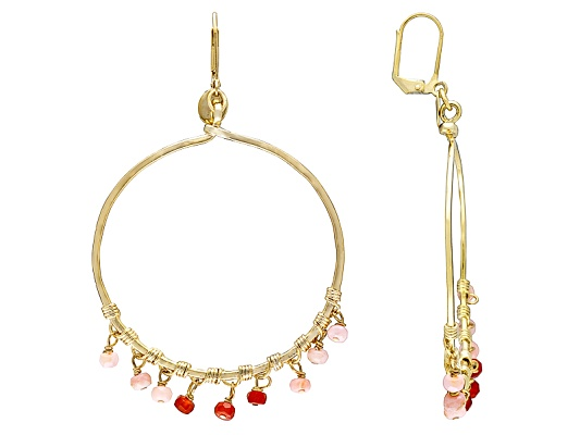 Double Happiness, Round Faceted Red Agate And Round Pink Opal Gold Tone Brass Earrings
