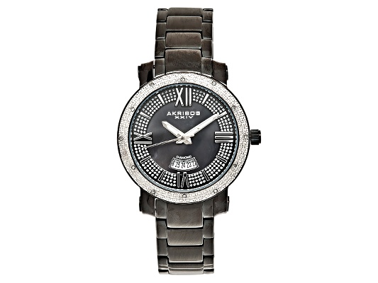 Akribos Ladies Black Ip Plated Diamond Swiss Watch