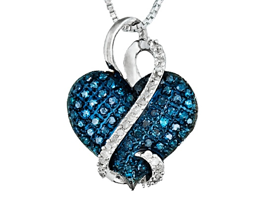 Blue Velvet Diamond(Tm) & White .30ctw Rd Rhodium Ovr Sterling Heart Pendant With Chain Erv ...