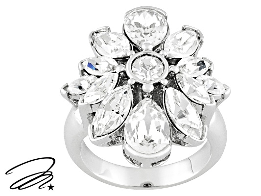 Marilyn Monroe (Tm) Jewelry Collection, Rhodium Plated Bronze Flower Crystal Ring