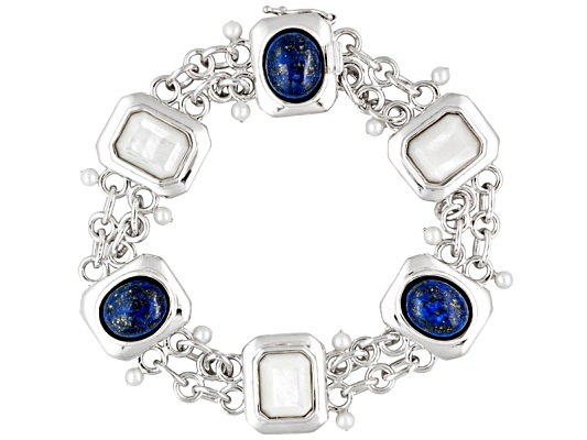 Lutece By Remy(Tm) Lapis,Mother Of Pearl And Fw Pearl Sterling Silver Art Deco Revival Bracelet ...