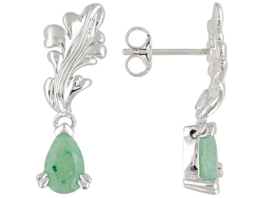 Lutece By Remy(Tm) 1.29ctw Pear Shape Green Aventurine Sterling Acanthus Leaf Earrings