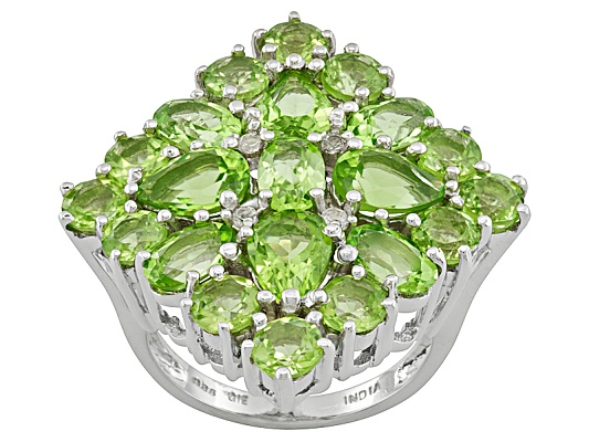 9.38ctw Oval, Pear Shape And Round Manchurian Peridot And White Topaz Accent Sterling Silver ...