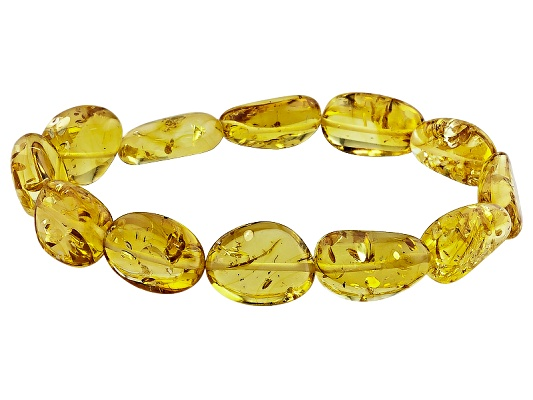 Yellow Asaros Baltic Amber(Tm)15-20mm, Free-formed Stretch Bracelet Approximately 1/2 Inch In Width