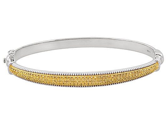 Sunglo! Yellow Diamond(Tm) .50ctw Round Rhodium Over Sterling Silver Bangle Eav $350.00