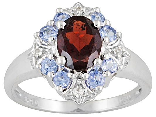 2.20ctw Oval Vermelho Garnet And Round Tanzanite And White Topaz Sterling Silver Ring