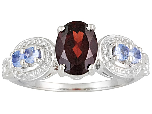 1.60ct Oval Vermelho Garnet And .28ctw Round Tanzanite Sterling Silver Ring