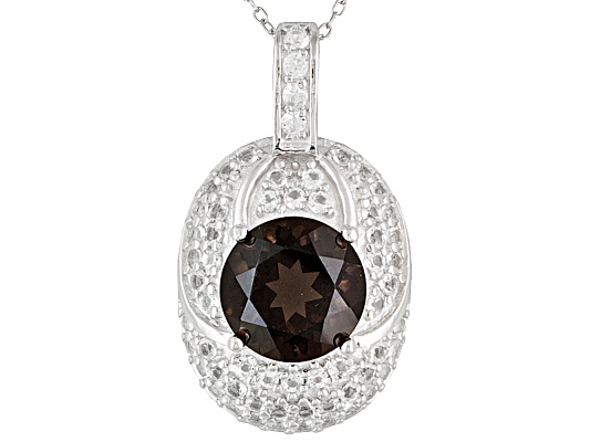 2.94ct Round Brazilian Smoky Quartz And .89ctw White Topaz Sterling Silver Pendant With Chain