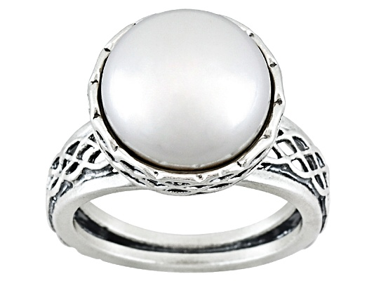 Artisan Collection Of Israel, Round Cabochon Freshwater Pearl Sterling Silver Ring Erv $143.00