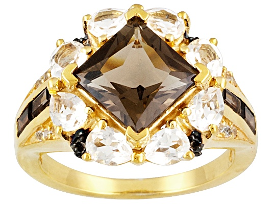 Stratify(Tm) 4.97ctw Smoky Quartz And White Topaz 18k Yellow Gold Over Sterling Silver Ring