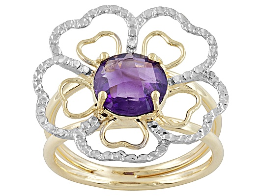 G.E.M.S. 1.80ct Round Amethyst 14k Yellow Gold Design Flower Ring