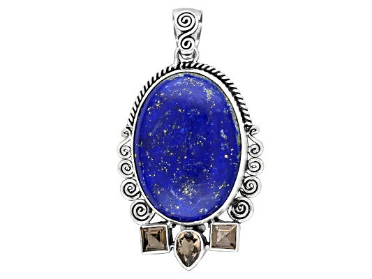 Beria Collection(Tm) Oval Lapis, 1.10ctw Brazilian Smoky Quartz Sterling Silver Pendant Erv $131.00