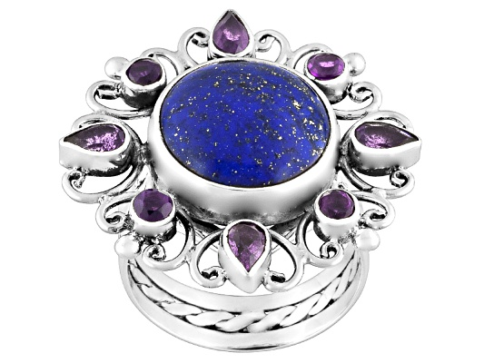 Beria Collection(Tm) Lapis And 2.40ctw Brazilian Amethyst Sterling Silver Ring Erv $141.00